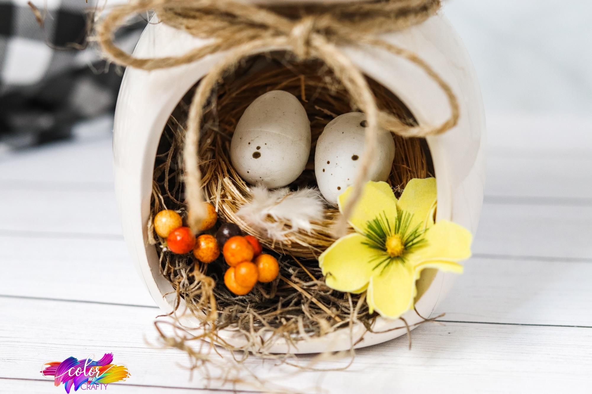 bird nest centerpiece for farmhouse decor