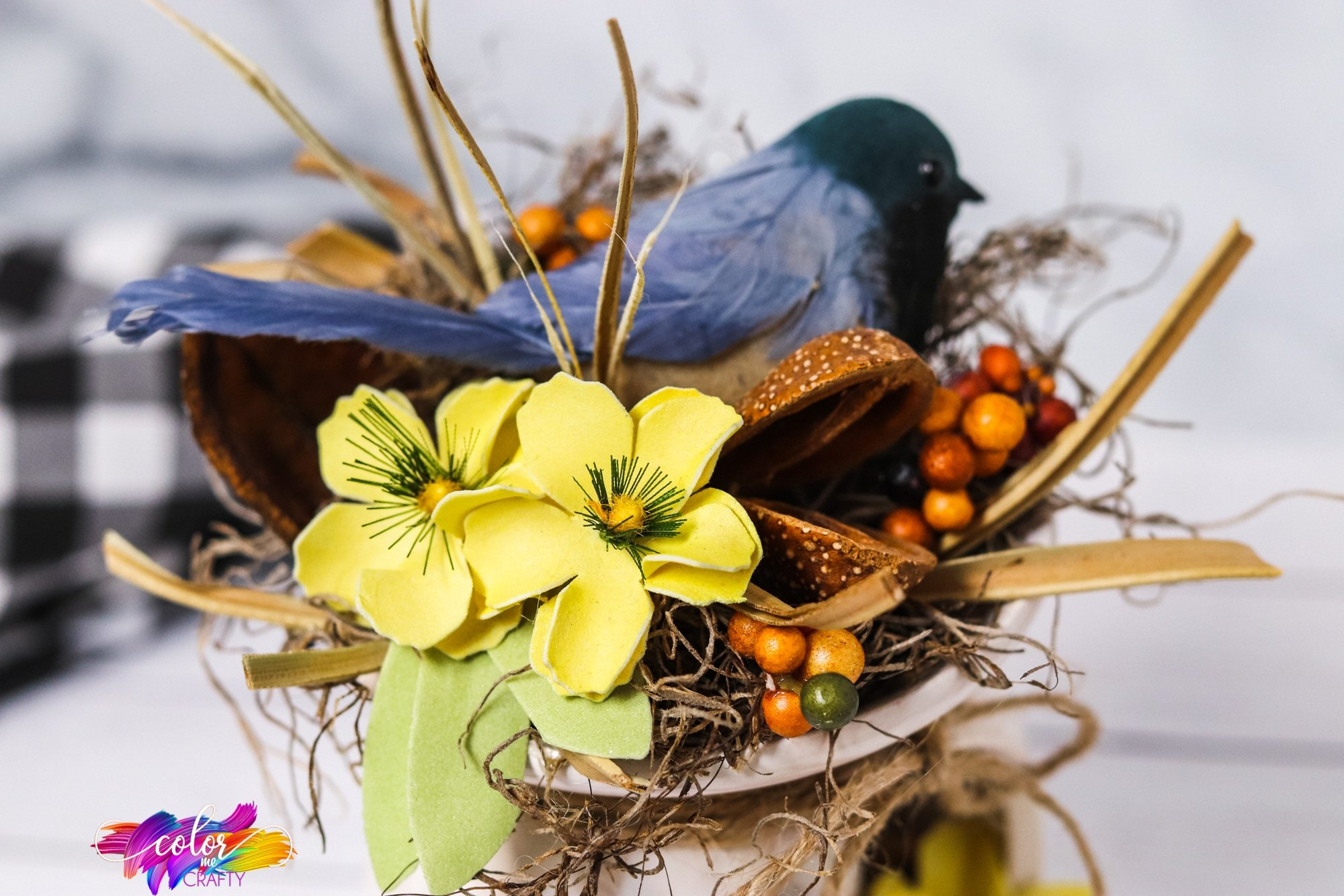 easy farmhouse bird nest centerpiece diy idea