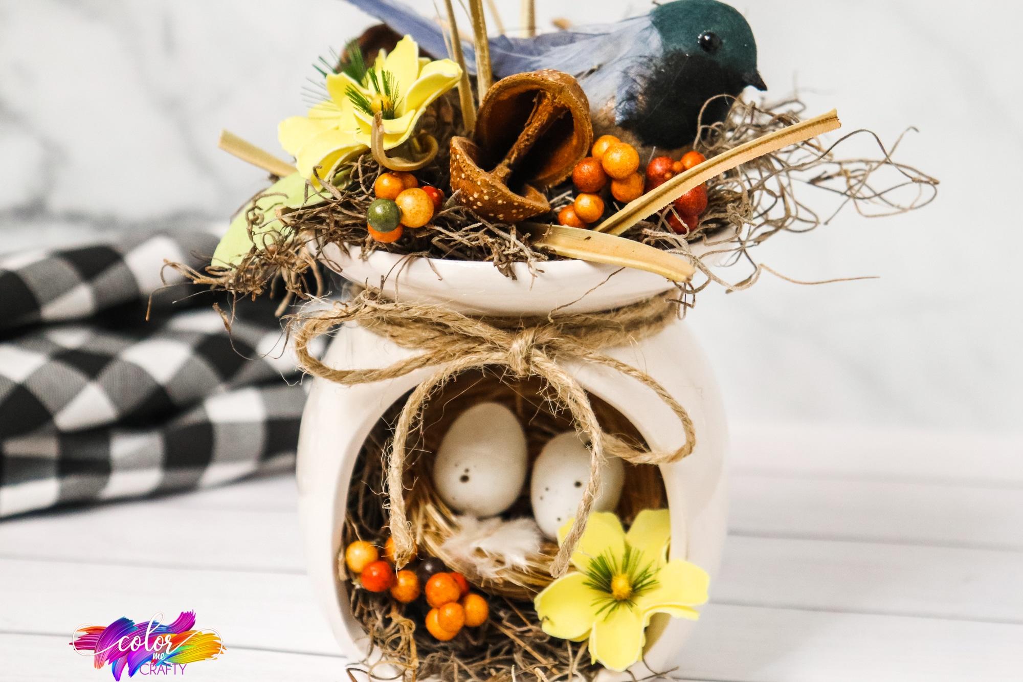 birds nest table centerpiece for farmhouse decor