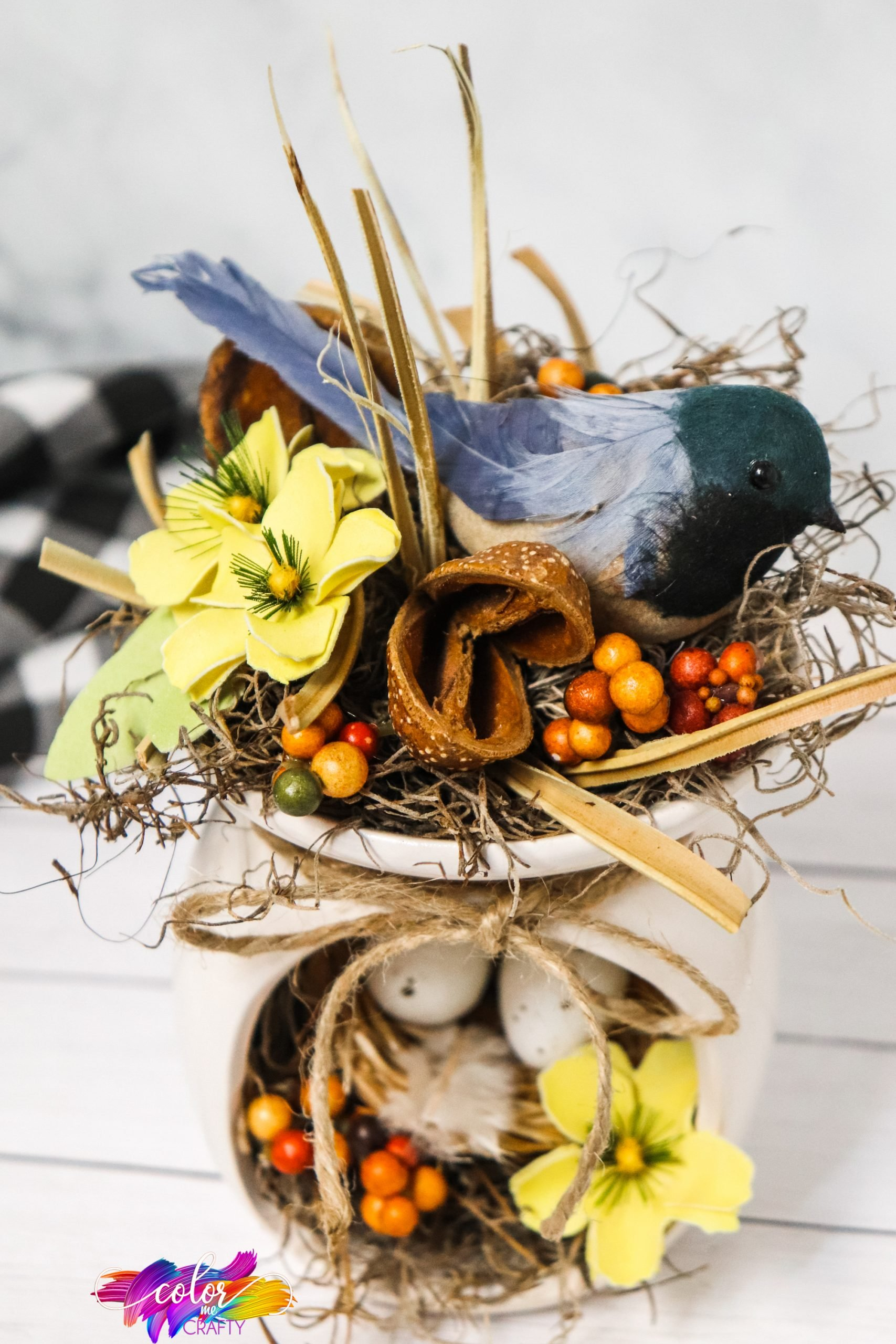farmhouse centerpiece for a birds nest