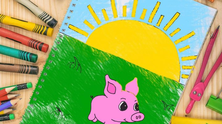 colored pig coloring page