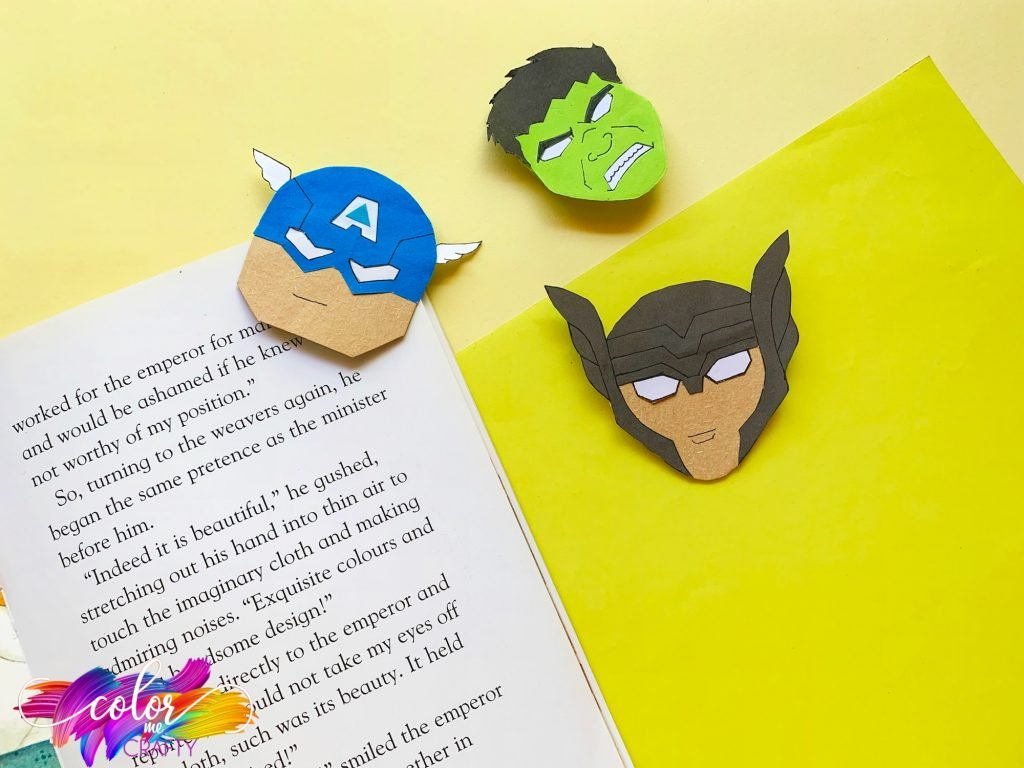 avengers corner bookmarks on book and yellow background