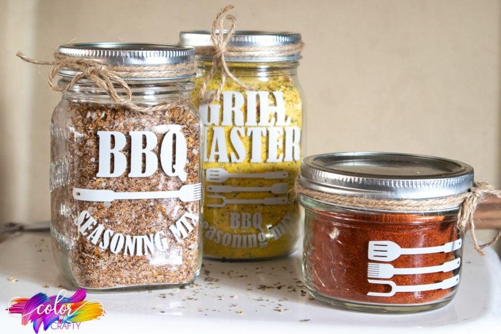BBQ seasoning mix jars
