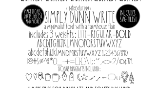 Simply Dunn Write Farmhouse 3 Weights Font Family & Dingbats
