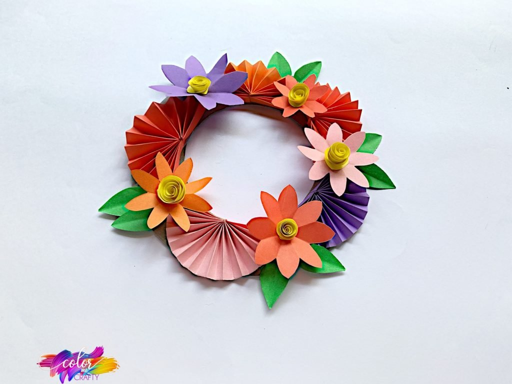 paper flower wreath angled view