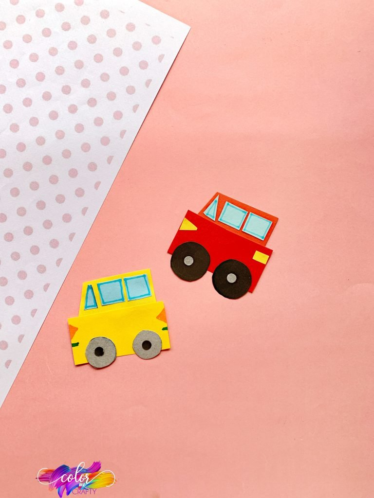 red and yellow paper car craft