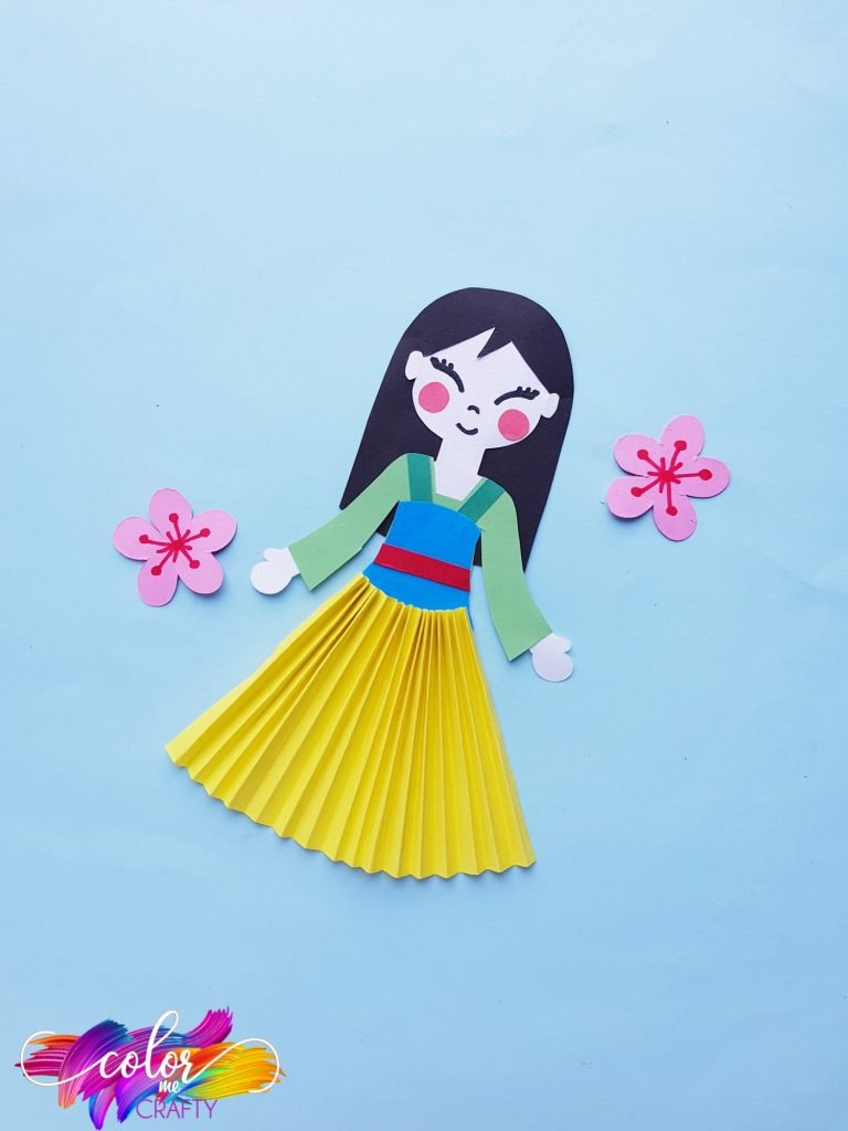 princess mulan paper doll with flowers and blue background