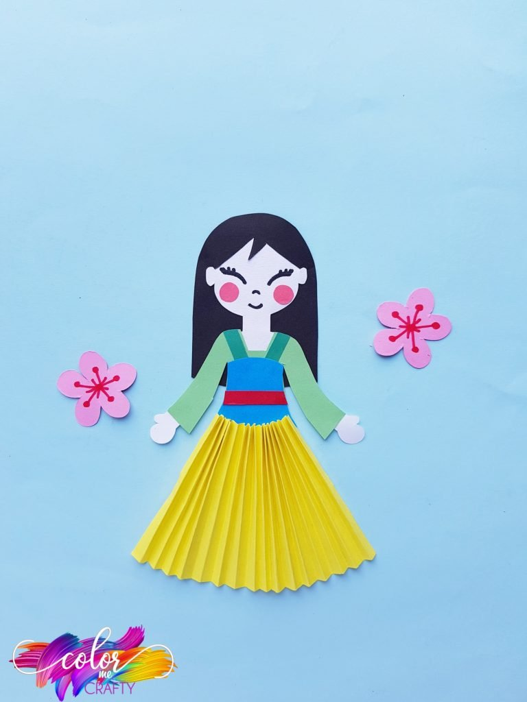 princess mulan paper doll on blue background
