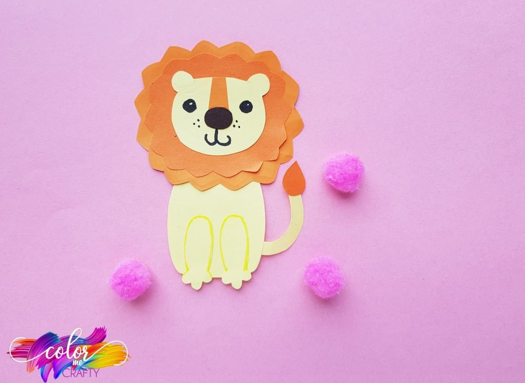 paper lion with pink poms