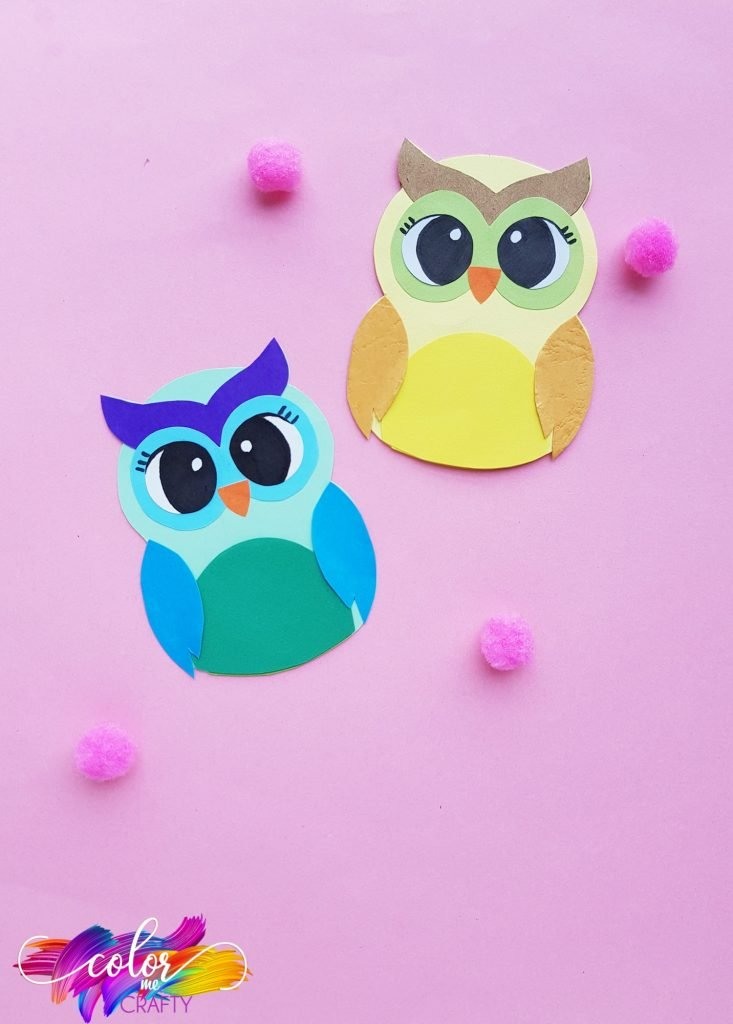 paper owls with pink poms