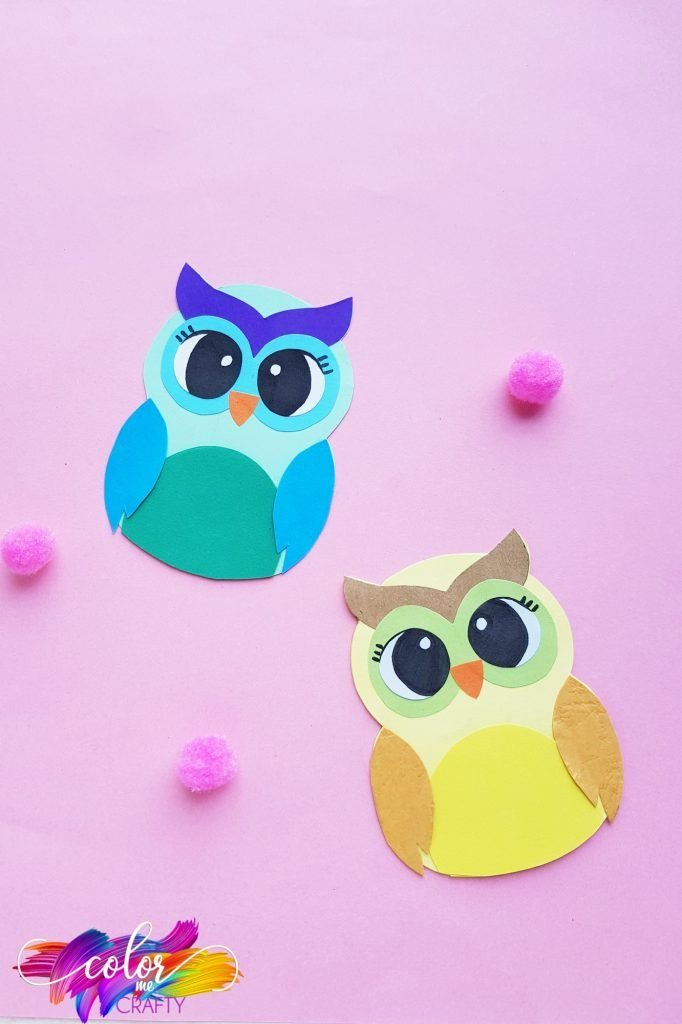 paper owls on pink background