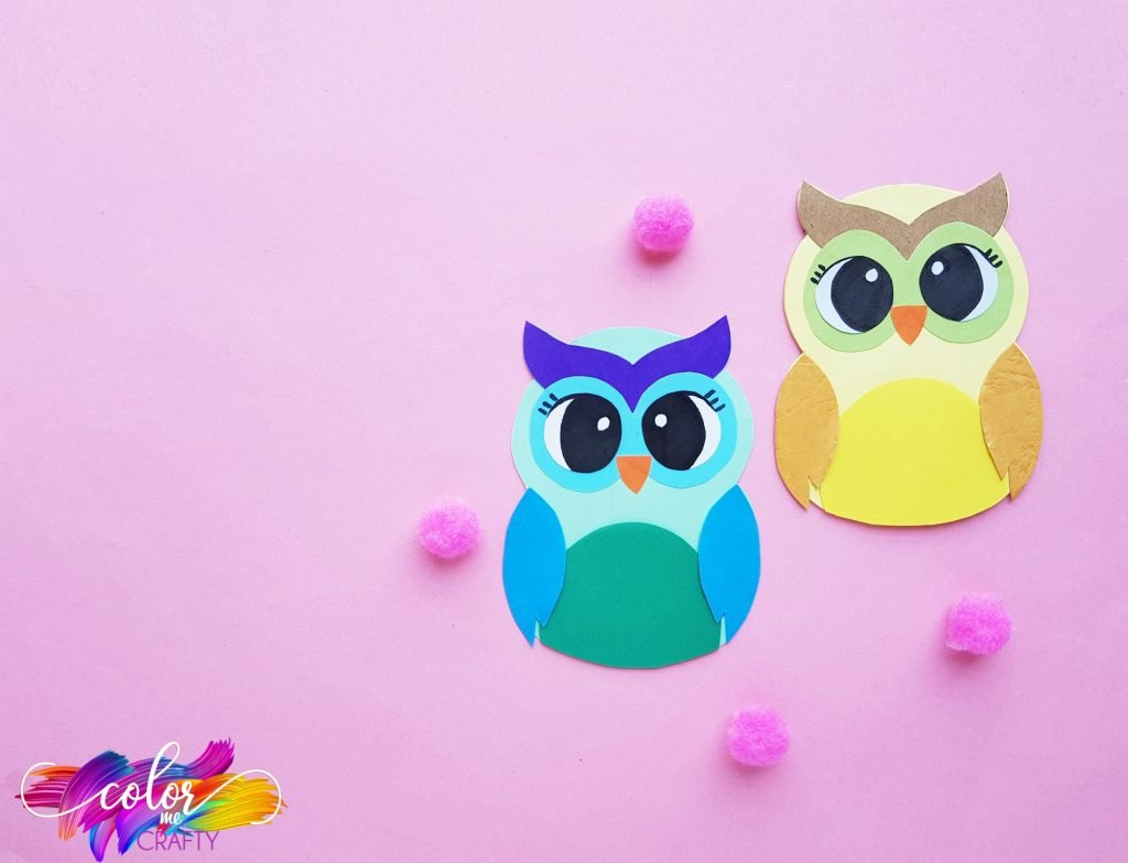 owls with pink poms on pink background