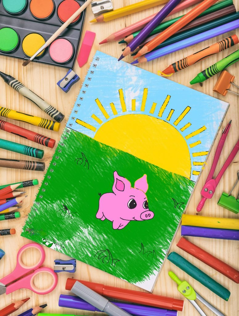colored printable pig coloring page