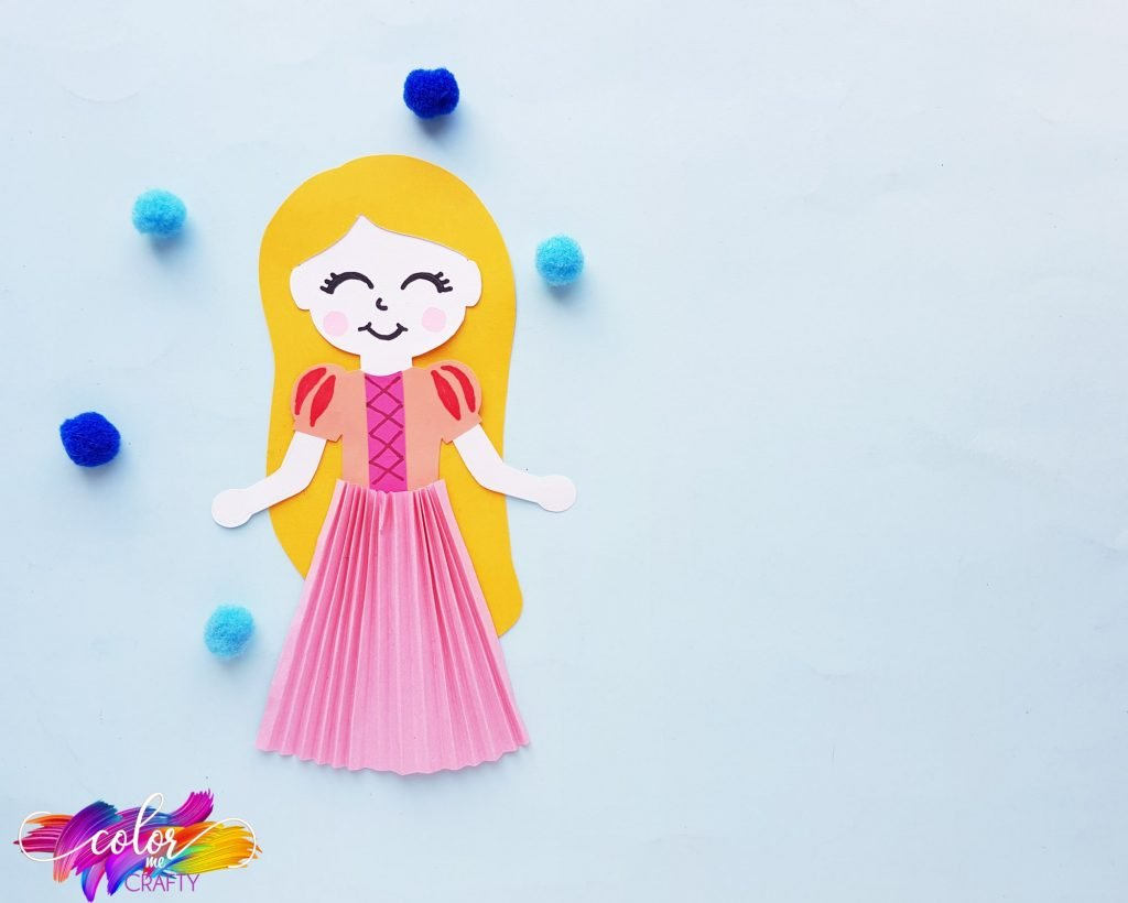princess paper doll on blue background