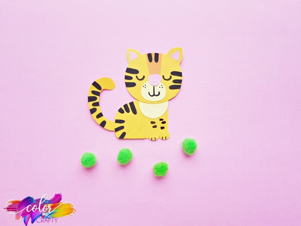 paper craft tiger with green poms