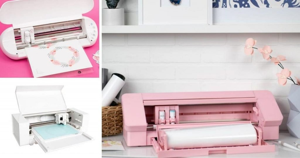 collage of pink silhouette cameo 4, silhouette curio and silhouette portrait cutting machines
