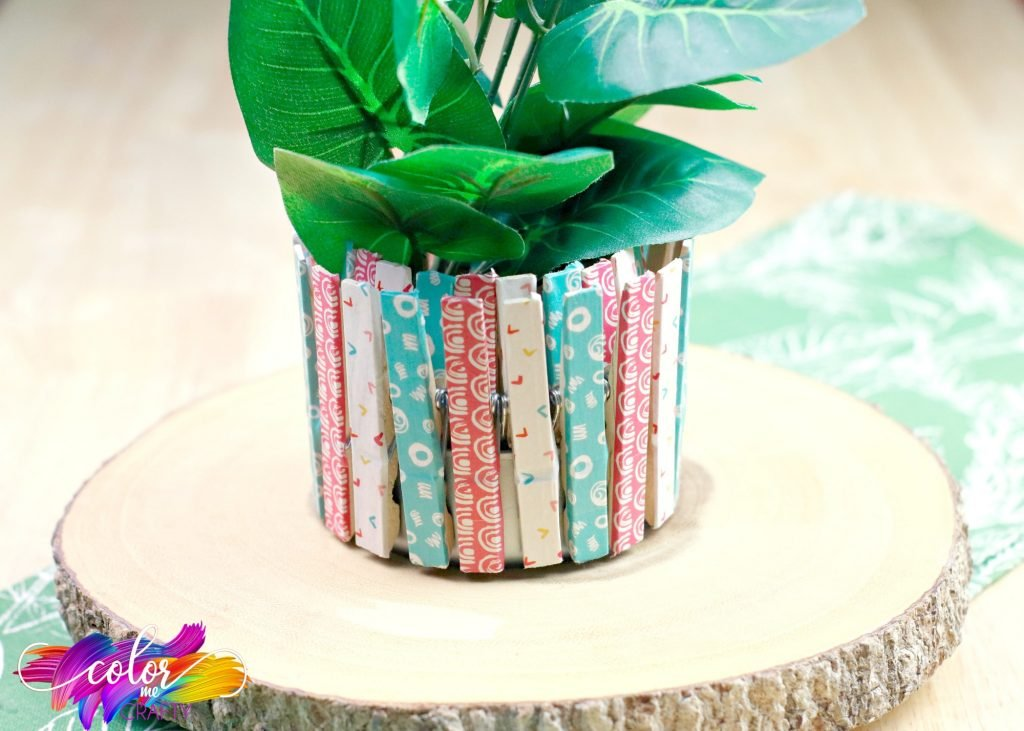 planter made with tuna can and clothepins