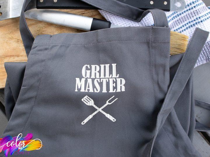 apron made with cricut iron-on