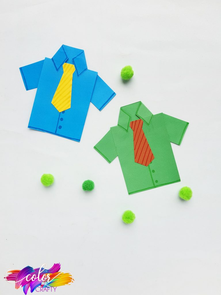 green and blue paper shirts