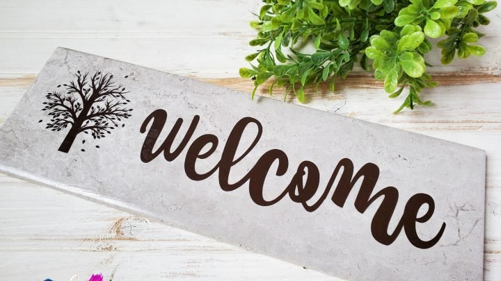 Simple DIY Welcome Sign For Cricut with Free Cut Files
