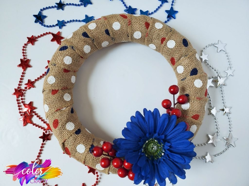 wreath; red white and blue