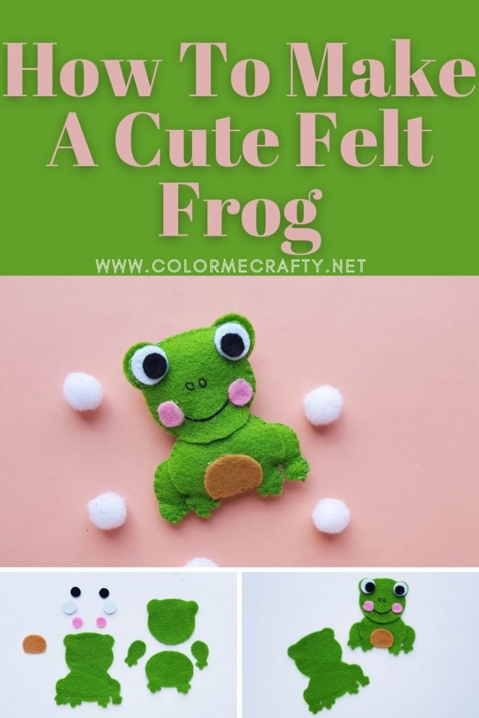 Collage of felt frog plushie laying on a pink background with white poms, 2nd and third photo with separate pieces of the felt frog