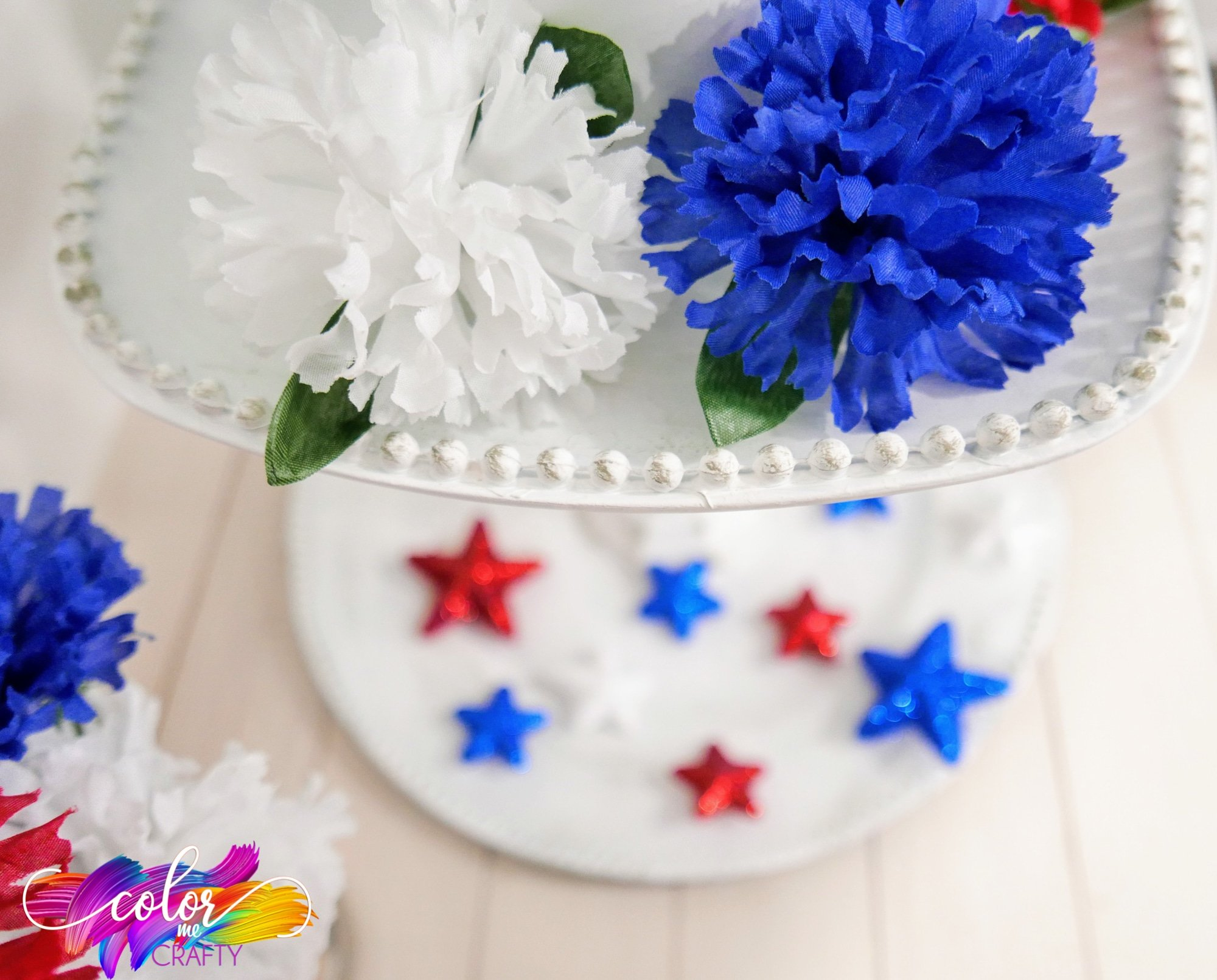 red white and blue tray