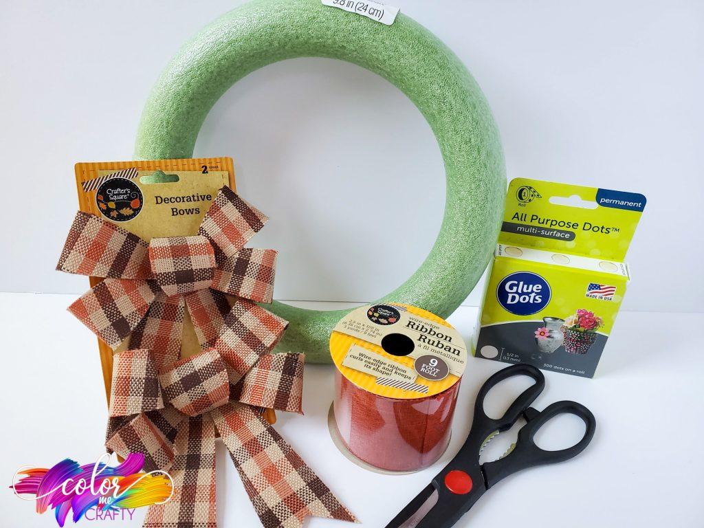 supplies for buffalo plaid wreath