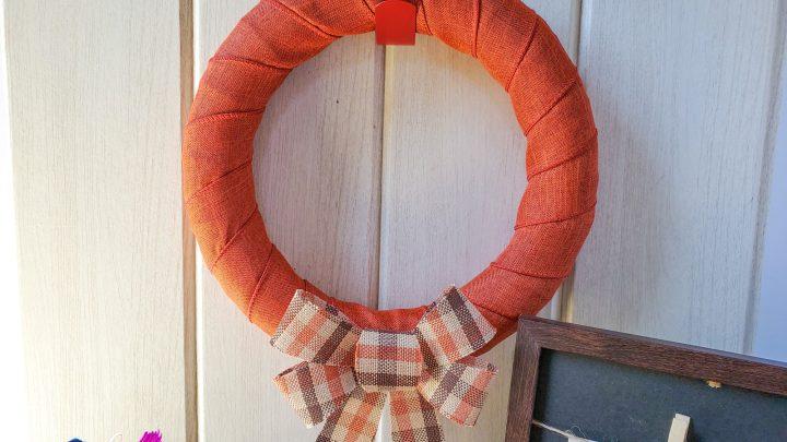 orange buffalo plaid wreath
