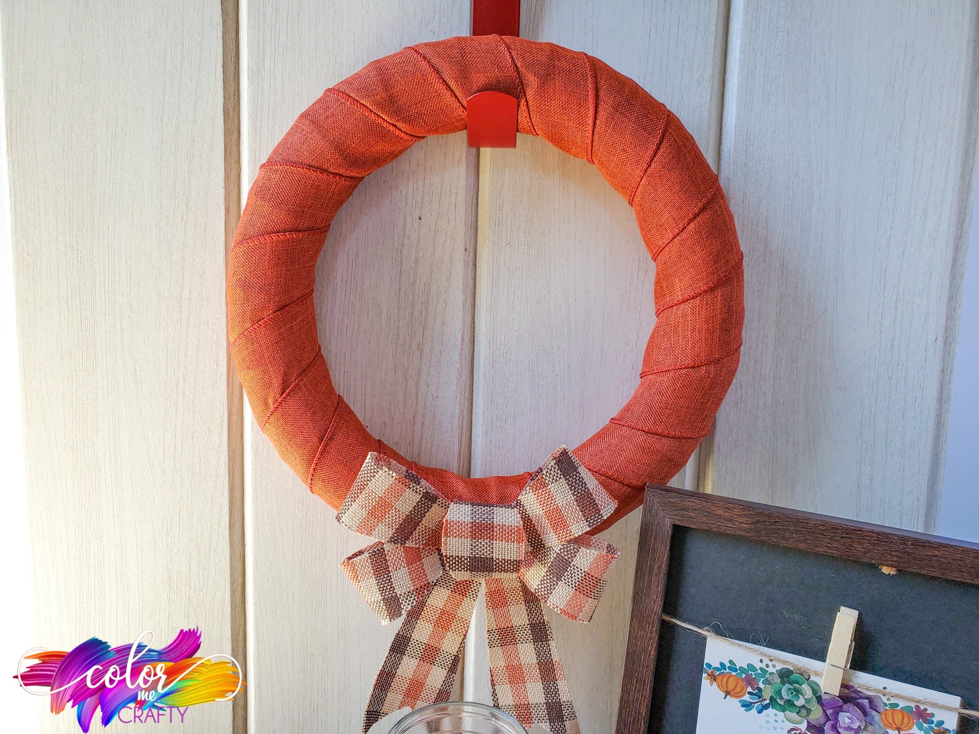 orange buffalo plaid wreath