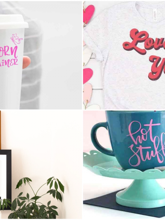 Collide of cricut vinyl projects, wall vinyl , a coffee mug with vinyl, tshirt and a Starbucks style coffee cup