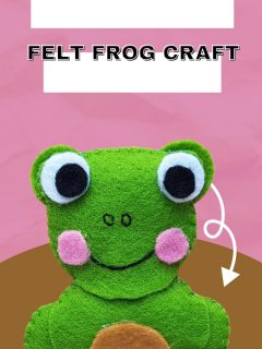Felt frog craft with text overlay