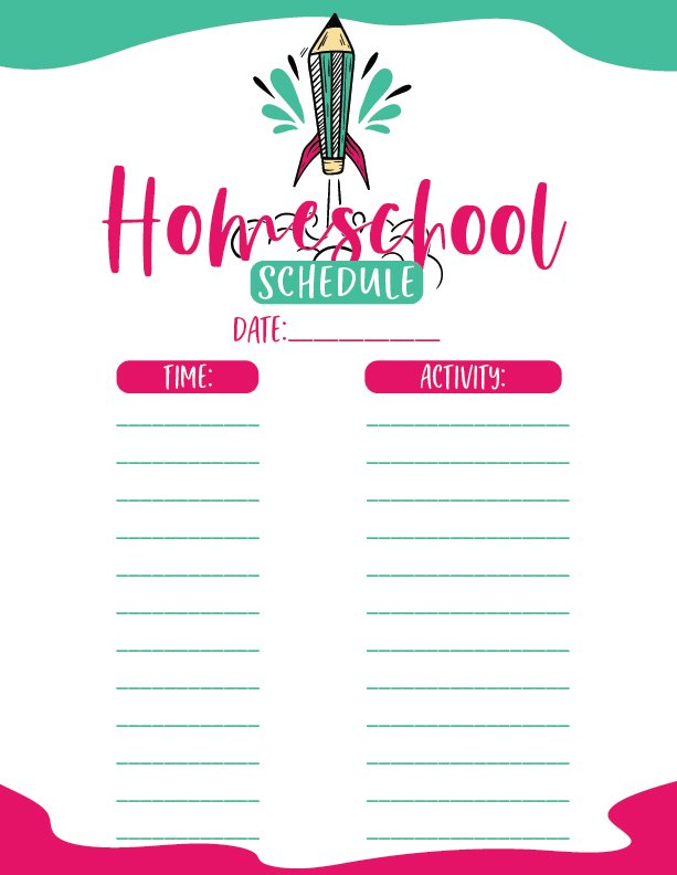blank copy of printable homeschool schedule with green and pink lining and fonts. space for times and activities