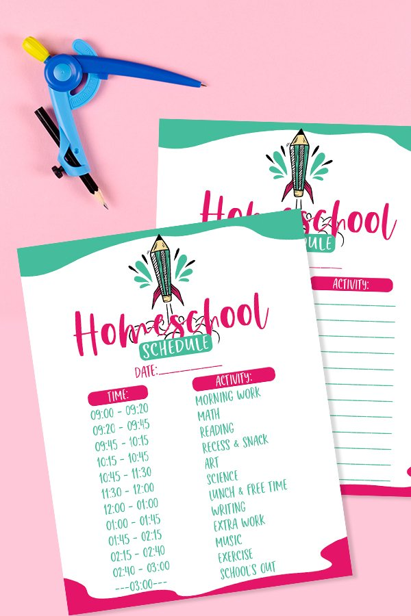 blank and filled copy of printable homeschool schedule with green and pink lining and fonts. space for times and activities
