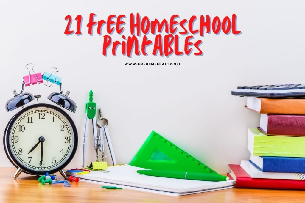 school supplies with text overlay that says 21 homeschool printables