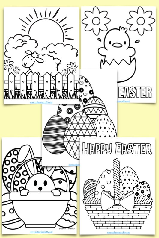 five easter coloring pages with easter eggs, bunnies, and other animals and scenery