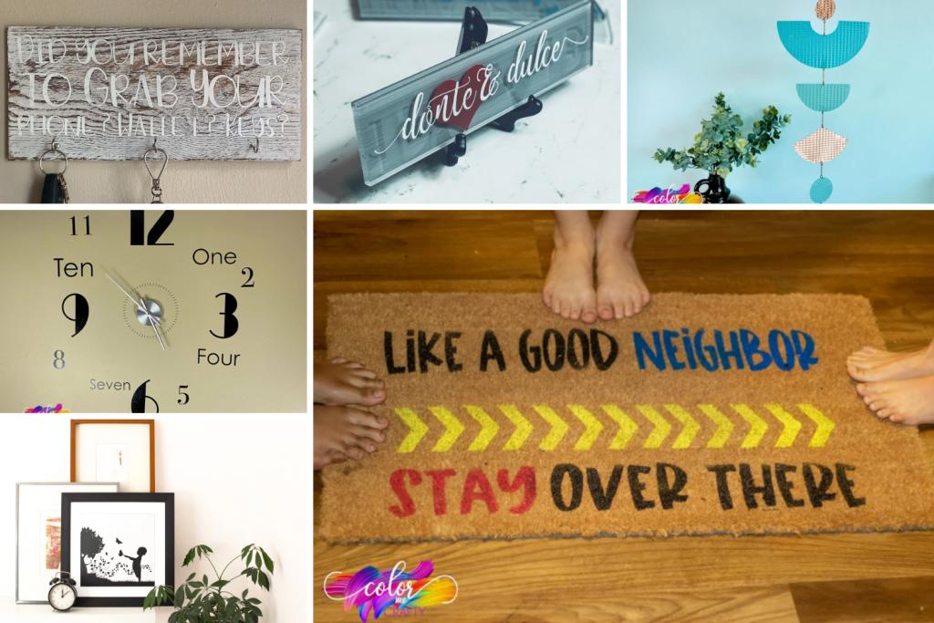 Collage of cricut ideas for home decor