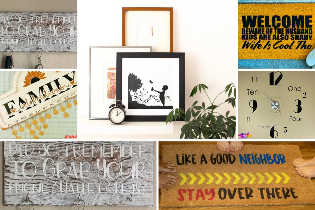 Collage of cricut home decor ideas