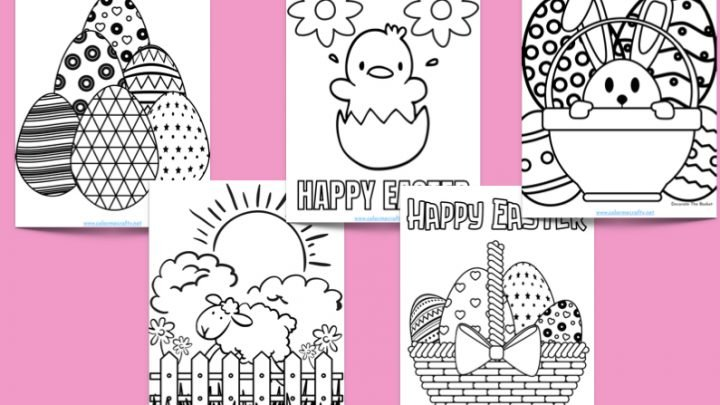five easter coloring pages with easter eggs, bunnies, and other animals and scenery; pink background
