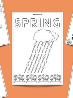 five spring coloring page printables with