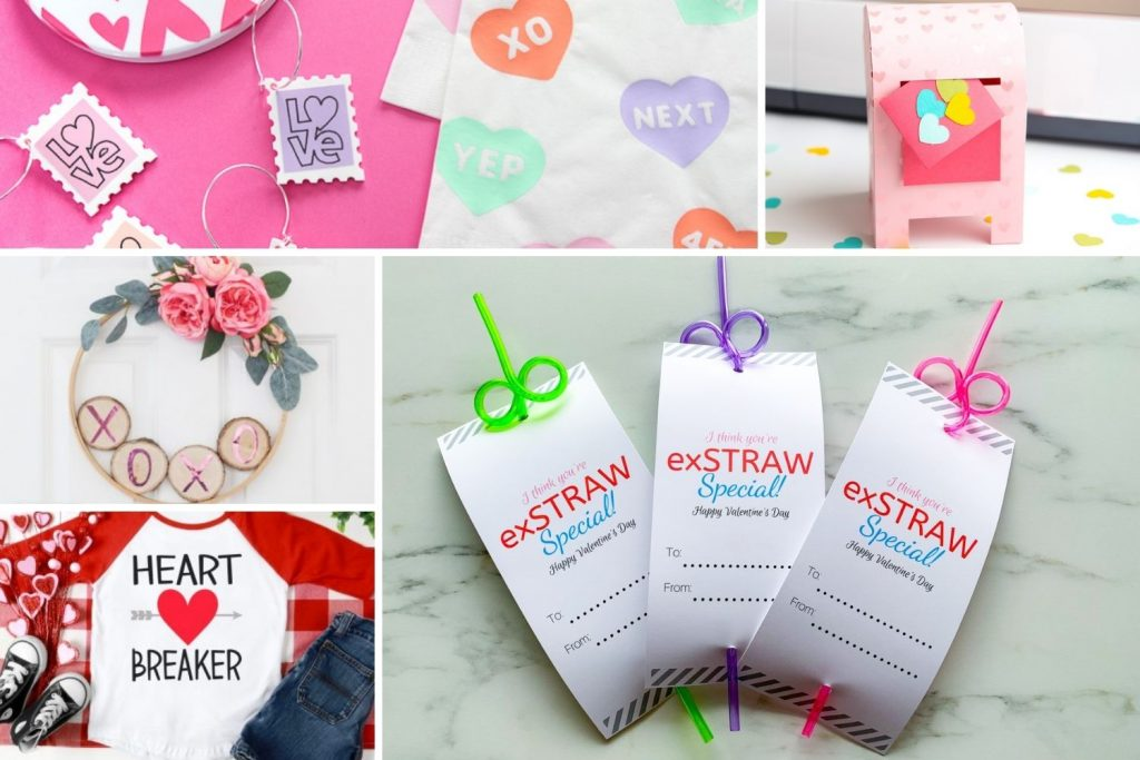 collage of cricut valentine ideas