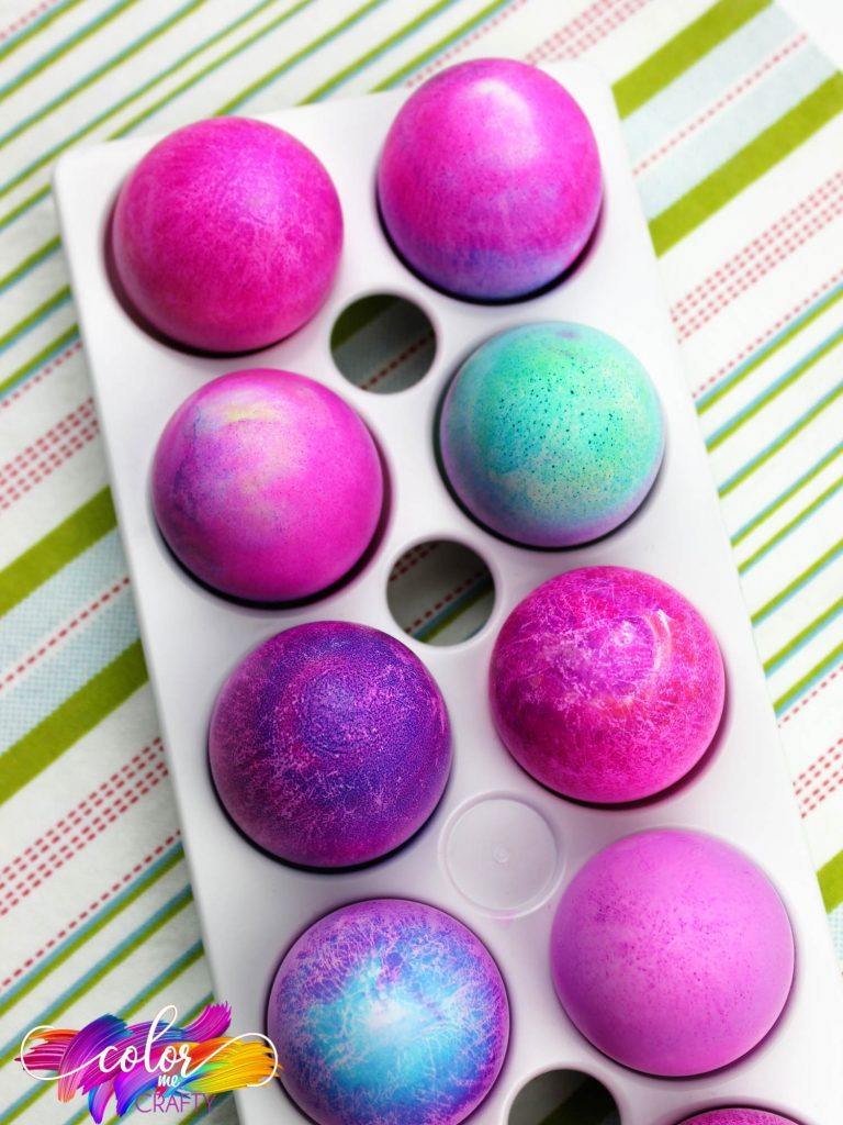 top view of shaving cream eggs in an egg holder