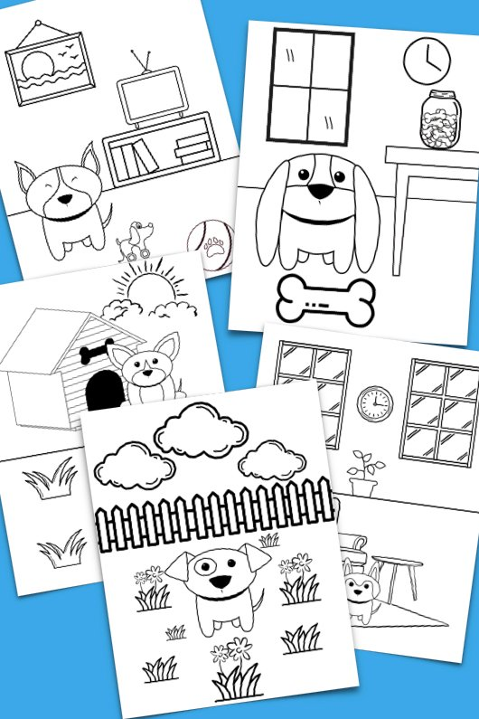 dog coloring sheets with blue backdrop; coloring pages have dog doodles, bones, houses, outside scenery, and more