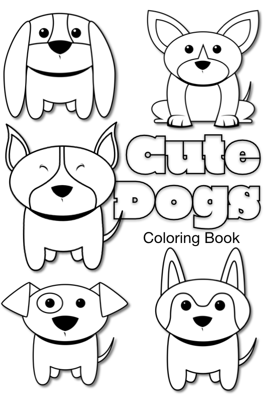 five adorable dog doodles in black and white to be printed and colored in
