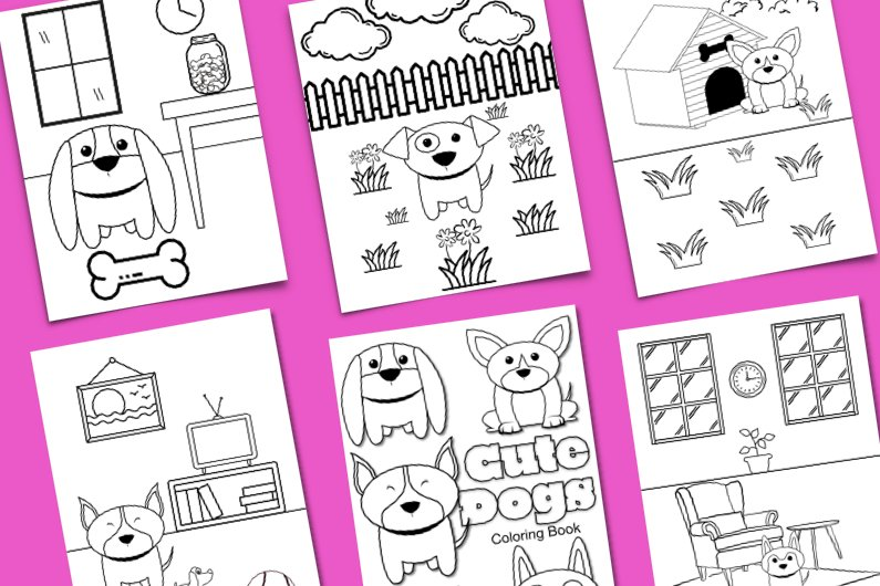 dog coloring sheets with purple backdrop; coloring pages have dog doodles, bones, houses, outside scenery, and more