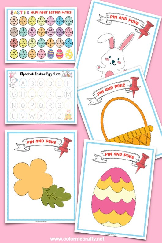 easter activities such as alphabet letter match, pin and pokes, and alphabet easter egg hunt; all six pages on pink backdrop