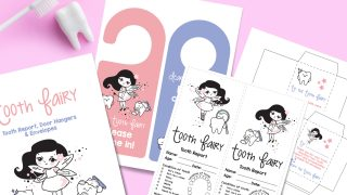 photo of different pages included with the tooth fairy printable; pink and blue door hangers, tooth fairy report, and tooth envelope
