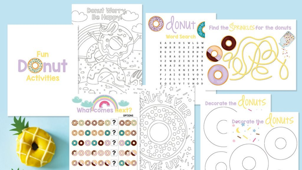 seven pages of the donut activity book; maze, word search, coloring pages