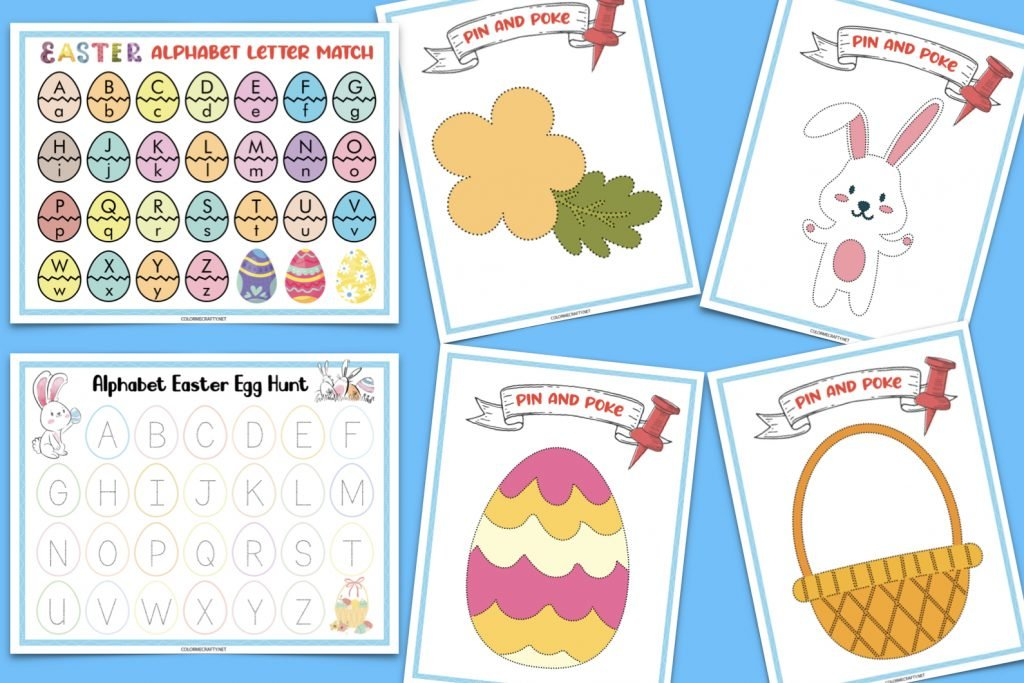 easter activities such as alphabet letter match, pin and pokes, and alphabet easter egg hunt; all six pages on blue backdrop