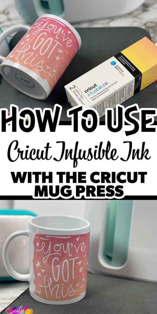 close up of cricut mug with text overlay